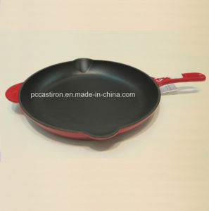 Enamel Cast Iron Frying Pan with Handle Dia pictures & photos