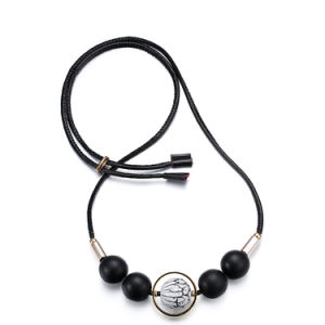 Fashion Jewellery Black Wooden Bead Leather Chain Necklaces for Women pictures & photos