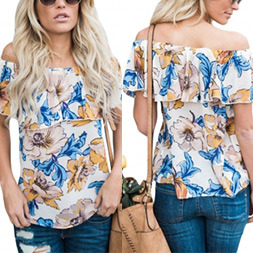 Fashion Women Leisure Chiffon Printed off Shoulder Clothes Blouse pictures & photos