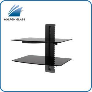 Black DVD Mount Black Print Glass 2 Shelf DVD Bracket
