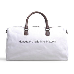 Factory Make PU Leather Handle Canvas Travel Bag, Practical Tote Luggage Bag, Business Shoulder Bag for Travel pictures & photos