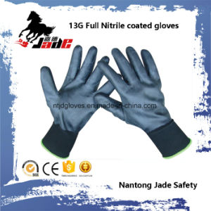 13G Full Black Nitrile Smooth Coated Glove pictures & photos