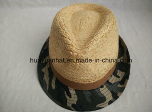 60%Raffia Straw30%Cotton10%Polyester with Groovy Green Fedora Hats