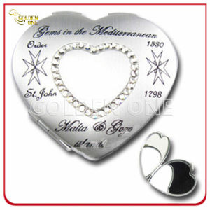 New Design Heart Shape Chrome Cosmetic Mirror with Crystal Stone pictures & photos