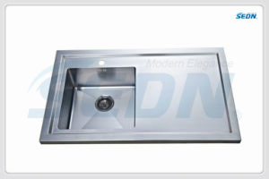 Handmade Single Bowl Stainless Steel Sinks with Drainer (SC3005) pictures & photos