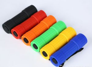 Promotion Best 9 LED Mini Flashlight Plastic 9LED Torch in Rubber Coated with Battery AAA pictures & photos