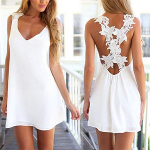 Hot Selling Lace Backless Sleeveless White Chiffon Summer Dress (50149) pictures & photos