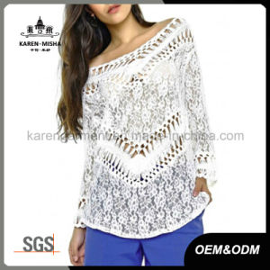 Women Oversized Boat Neck Floral Lace Blouse pictures & photos