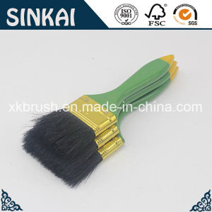 Green Plastic Handle Paint Brush with Black Bristle pictures & photos