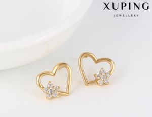 91664 Fashion Elegant CZ Diamond Heart-Shaped 18k Gold-Plated Imitation Jewelry Earring Studs pictures & photos
