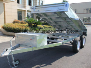 10X5 Hot Dipped Galvanized Hydraulic Tipper Trailer with Cage pictures & photos