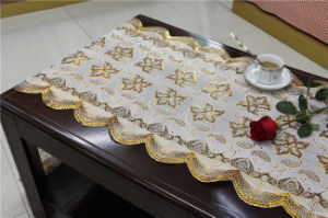 Elegant 50cm Width Gold PVC Long Lace Tablecloth in Roll (JFBD-020) pictures & photos
