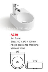 Ceramic Basin (No. A350) Art Basin Above Countertop Mounting, Samll Sink pictures & photos