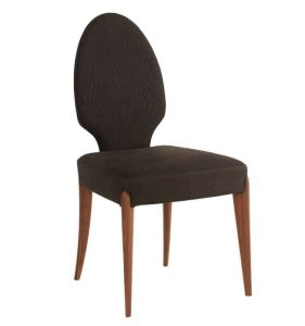 Antique Design Oval Back Fabric Dining Chair with Wood Legs (DC013)