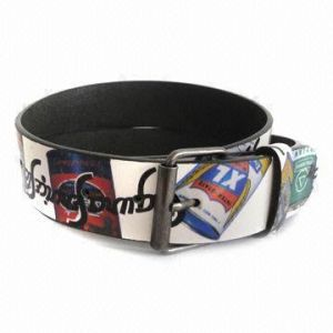 Printed PU Belt with Iron Roller Buckle