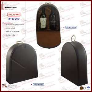 High-End Dual Bottles Wine Box with Metal Loop (5886R3) pictures & photos