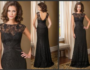 Black Lace Mother of Bride Dress V-Back Evening Dress B40 pictures & photos
