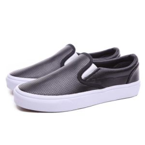 No Lace Grey Punch Hole Leather Fabric Rubber Plimsolls Shoes pictures & photos