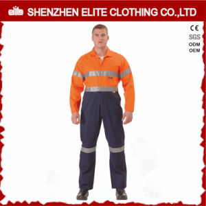 Custom Men Cotton Drill Work Coveralls with Reflective Tape pictures & photos