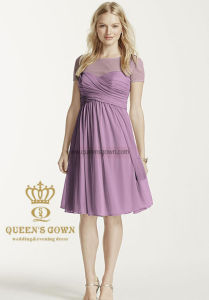 Princess Scoop Neck Short Chiffon Bridesmaid Dress with Ruffle pictures & photos