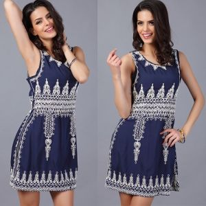 Suumer Fashion Dress Cotton with Embroidery Casual Women Dress