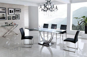 Modern Clear Glass Metal Base Dining Table with Side Chairs pictures & photos