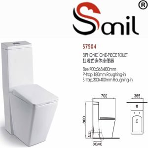 Factory Price China Wholesale Square Siphonic One Piece Toilet (S7504) pictures & photos