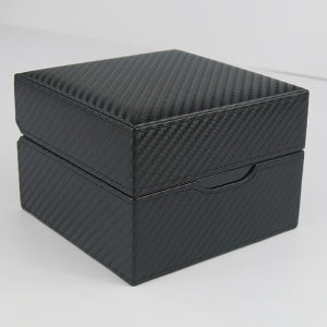 Black Texture Leather Wooden Gift Jewelry Packing Watch Box with Pillow pictures & photos