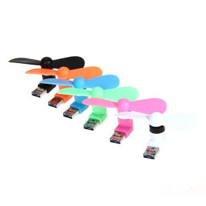 2 in 1 Mini Fan Two Leaves Portable Mini USB Micro Plug Pocket Fan for OTG Android Phones and Other USB Port Devices pictures & photos