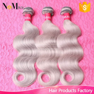 No Bad Smell Silver Color Body Wave Brazilian Grey Remy Hair pictures & photos