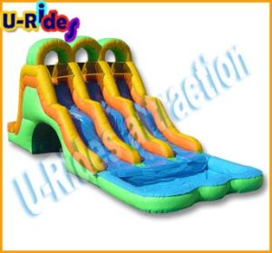 Inflatable attractive 3 lanes Water Slide inflatable bounce slide with pool for kids pictures & photos