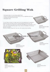 Square Handle BBQ Grill Wok with Plating Coating pictures & photos