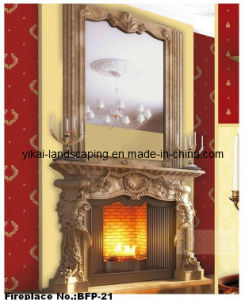 Stone Fireplace Big White Marble Carved Fireplace for Villa (YKBFP-21)