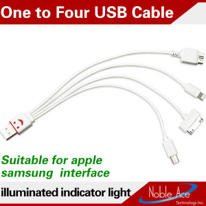 4 in 1 USB Flat Cable Multifunction Cable 2014 New Data Cable for Samsung iPhone Android