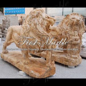 Golden Travertine Lion Statue for Home Decoration Ma-565 pictures & photos