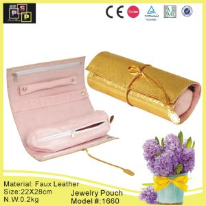 Golden Leather Jewelry Roll Pouch (8074) pictures & photos