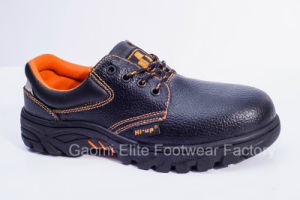 Low Cut Black Embossed PU Leather Safety Shoe Pioneer-O1