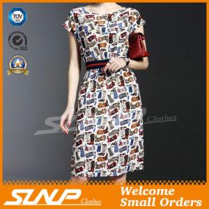 Women′s Short Sleeve Dress/Skirt Wear with Waist Belt