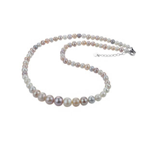 3-9mm Near Round Graduated Simple Fancy Multicolor Pearl Necklace