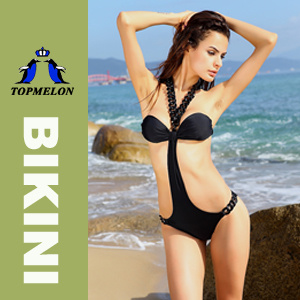 Topmelon Sexy Black Chain One Piece Bikini Set Swimwear Swimsuit (T17) Black