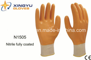 Polyester Shell Nitrile Coated Safety Work Gloves (N1505) pictures & photos
