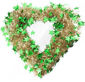 Christmas Heart Shape Tinsel Wreath with Green Star