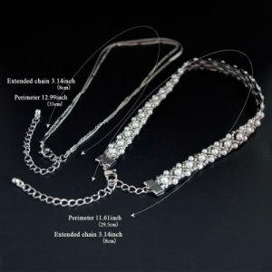 Crochet Lace White Simulated-Pearl Beads Multilayer Chain Choker Necklaces Set pictures & photos