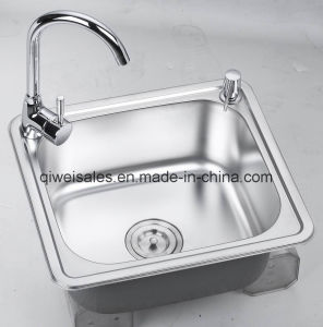 Stainless Steel Handmade Kitchen Sink with Soap Container (QW-H4843) pictures & photos