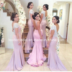 Backless Sheath Formal Gown Satin Court Train Evening Dress Z102 pictures & photos