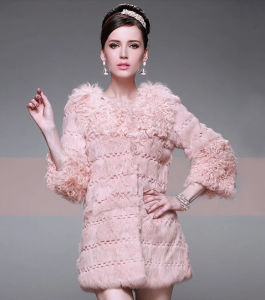Women′s Winter Warm Rabbit Fur and Lamb Fur Patchwork Long Coat pictures & photos