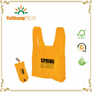 Green Material Carrying Bag with White Logo Print Eco Bag Nylon Fold Bag with Button pictures & photos
