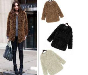 2014 New Women′s Fur Fashion Clothing Winter Warm Slim Outerwear Coats White Black Short Zipper Jacket Faux Fur Coat for Women pictures & photos