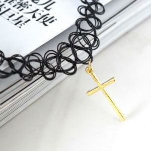 Gold Plated Cross Pendant Handmade Choker Tattoo Necklaces pictures & photos
