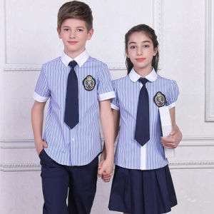 2016 New Design 100%Cotton Bulk International Custom Made Primary School Uniforms with Check Short Sleeve pictures & photos